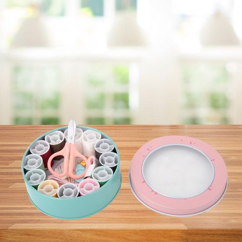 16 Pieces Portable Sewing Kit, Sewing Kit With Stainless Steel Needle Plate Tape Measure Scissors Thread Storage Box