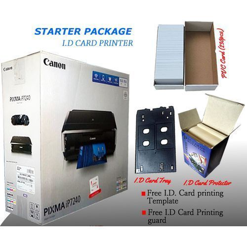 PIXMA IP7240 Starter Package Plastic I.D Card Printer + 1 Pack I.D Card Protector (235pcs)