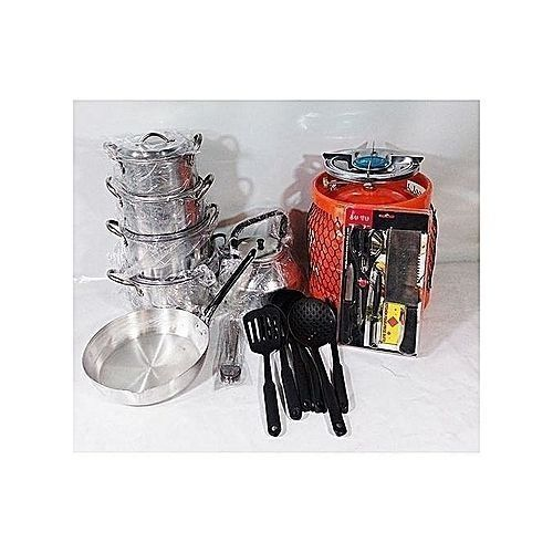 Economy Kitchen Bundle-4 Set Pots,1 Kettle, 1 Frying Pan, 1 Set Non-stick Frying Spoon, 1 Knife Set, 1 Set Of Table Spoon And 3kg Gas Cylinder.