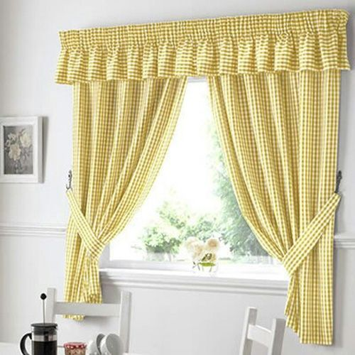 Kitchen Curtain 013(3 Piece Set) - Yellow Checkers