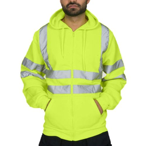 Mens Reflective Stripe Tops Sanitation Worker And Fireman Work Uniform Thickened Men's Hoodies Winter Outdoor Cold-proof Jacket(#green) CUI