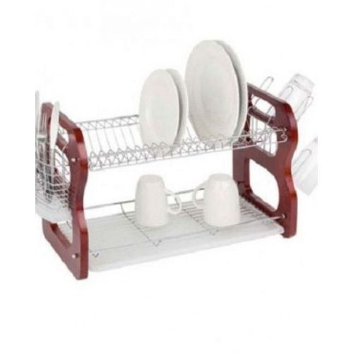 Wooden Dish/Plate Rack 2 Layers With Drainer