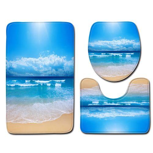 Fenhehu 3pcs Non-Slip Bath Mat Bathroom Kitchen Carpet Doormats Decor