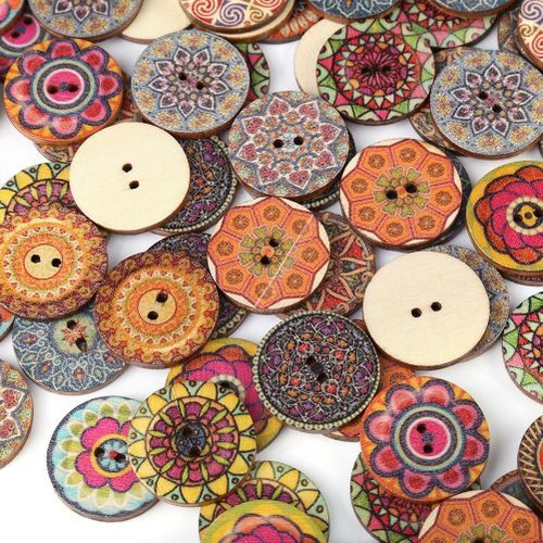 100 Pcs Mixed Pattern Fashion Wood Buttons With 2 Holes For DIY Sewing Craft Decorative 25mm - Intl