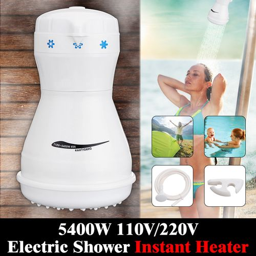 5400W Electric Shower Head Tankless Instant Hot Water Heater Hose Bracket 110V