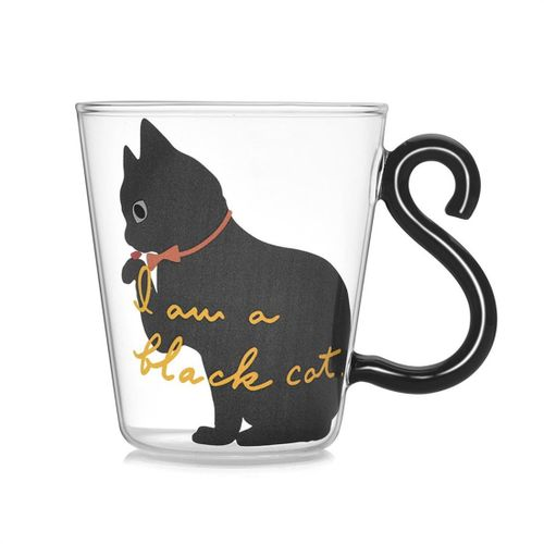 Cute Kitty Glass Water Cup Cat Tail Handle Mug Mil