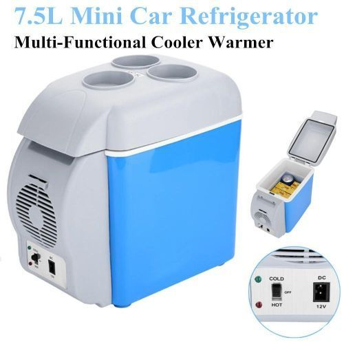 7.5L Mini Car Refrigerator 12V Multi-Functional Cooler Warmer Fridge For Travel Road Trip