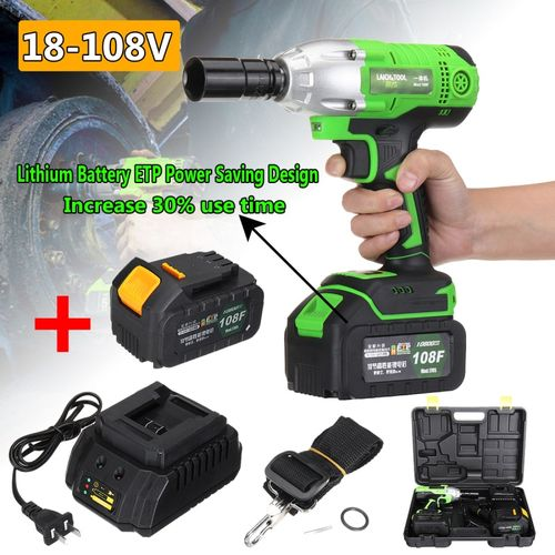 18-108V Cordless Impact Wrench Power Drills Hammer High Torque 2 Li-ion Battery With LED Light Power Tools Drill