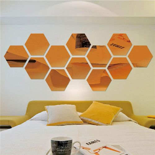 12Pcs Acrylic 3D Hexagon Mirror Wall Stickers Removable Decal Home Art Decor DIY