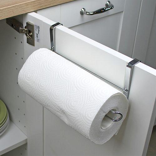 Stainless Steel Kitchen Over Door Roll Paper Holder Paper Towel Rack Hanger