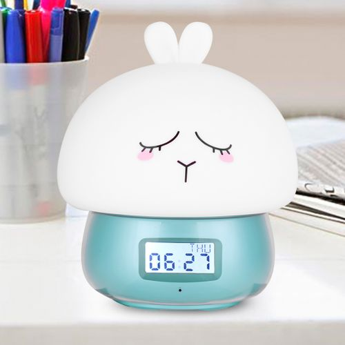Baby Night Light LED 7Colors Silicone Light Recordering Lamp Wake Up Light Alarm Clock Remote Gifts For Kids