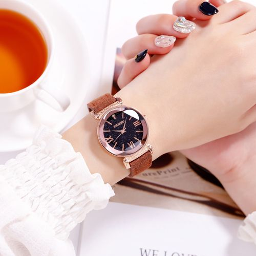 Women Elegant Quartz Wristwatch - Brown