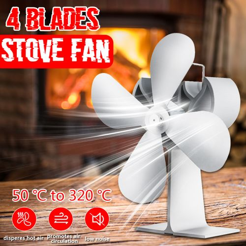 4 Blade Stove Fireplace Komin Wood Fan Home Efficient Heat Distribution