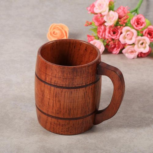1Pc Practical Wooden Beer Milk Coffee Tea Mug Handmade Home Bar Drinking Cup With Handle
