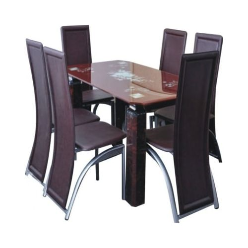 Glassware Dining Table With 6 Dining Chairs - Brown(Delivery Within Lagos & Ogun Only)