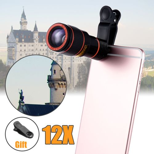 12X Optical Zoom Clip-on HD Telescope Camera Lens For Universal Mobile Phone