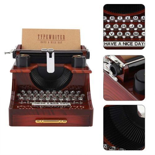 Vintage Typewriter Style Mechanical Music Box Gift Jewelry Box With Drawer