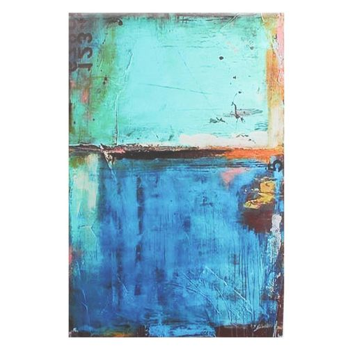 Abstract Modern Vintage Blue Canvas Wall Art Oil Printed Picture Home Room Decor#Unframed