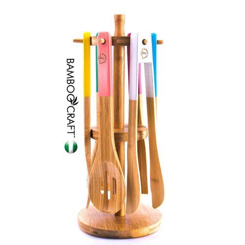 7-in-1 Spectrum Painted Handle Bamboo Cooking Utensils Set