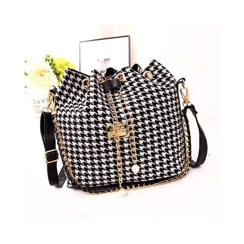 Classic Ladies Bucket Shoulder Women Handbag-Black/White