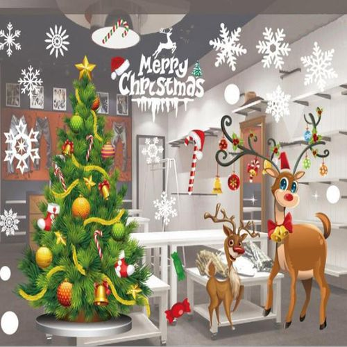 Christmas Glass Window Door Wall Sticker Hanging Snowman Ball Train Elk Christmas Tree Snowflake Decoration Household