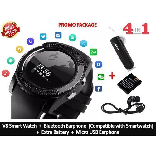 Plus Smartwatch Phone With Camera MemoryCard/SIMCard Slot [+ Bluetooth Earphone/Extra Battery/Micro USB Earphone] - Black