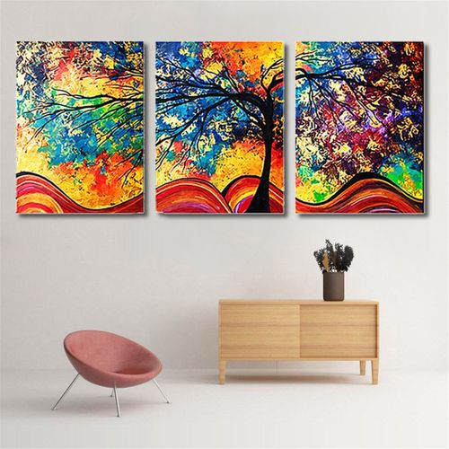 3Pcs Abstract Colorful Tree Canvas Print Art Painting Picture Home Decor Unframed
