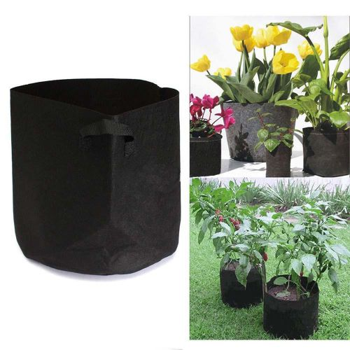(Dtrestocy)-Round Fabric Pots Plant Pouch Root Container Grow Bag Aeration Pot Container