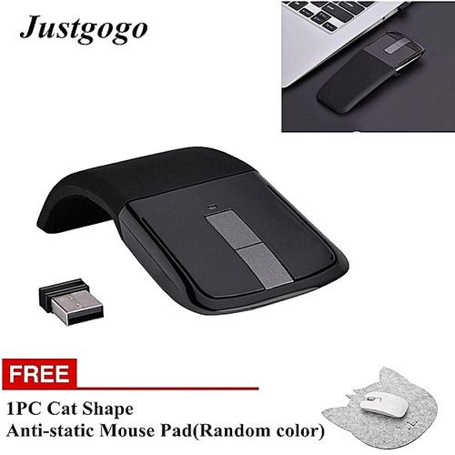 Buy One Free One:2.4GHz Foldable Wireless Arc Touch Mouse Mice + USB Receiver For PC/Notebook/Smart TV Black