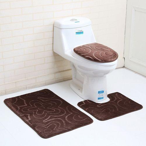 3PC Bathroom Set Rug Contour Mat Toilet Lid Cover Colored Bath Mat