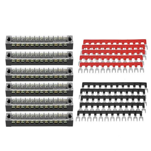 5pcs Dual Row 12 Positions 600V 15A Screw Terminal Block + Pre-insulated Terminal Barrier Strip