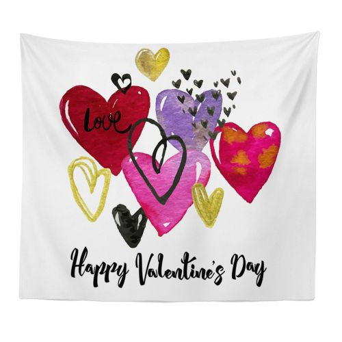 Generic Happy Valentine Tapestry Beach Cover Up Tunic Tapestry Tablecloth Home Decor