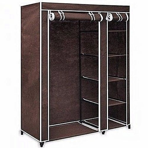 Mobile Moveable Wardrope Closet With Wheels & Cloth Hanger For Home/ Hostel Use