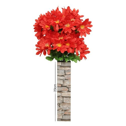 Standing Wooden Vase With Red Flowers