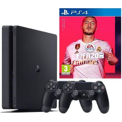 PS4 500GB + FIFA 20 Bundle + 2 Controller- Black
