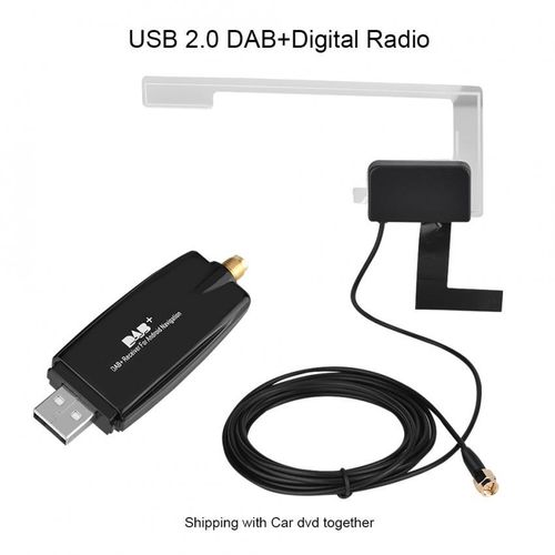Portable USB2.0 Car Digital Radio Receiver DAB+ DAB Radio Tuner Stick W/ Antenna For Android