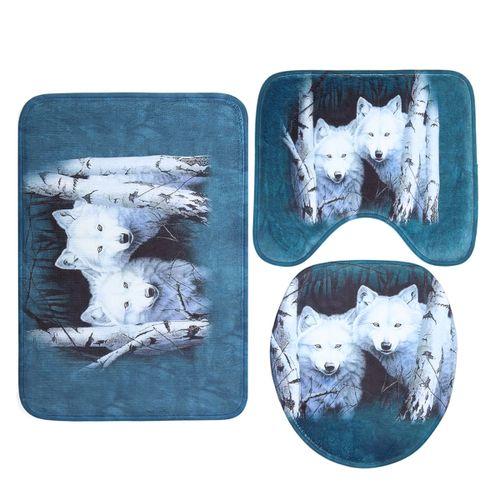 3PCS Bathroom Non-Slip Rug Door Carpet Wolf Toilet Lid Cover Mat Flannel