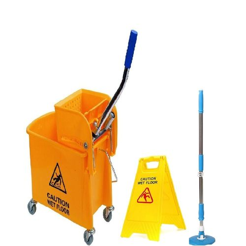 Mop Bucket With Wringer, Caution & Adjustable Mop Stick- Yellow