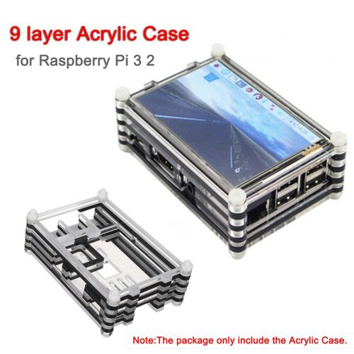9 Layer Acrylic Case For Raspberry Pi 3 2 Support 3.5 Inch LCD Touchscreen