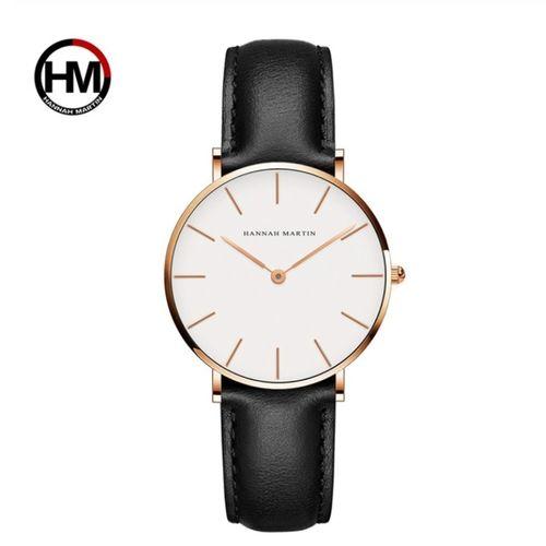 Women's Leather Quartz Wristwatch - Black