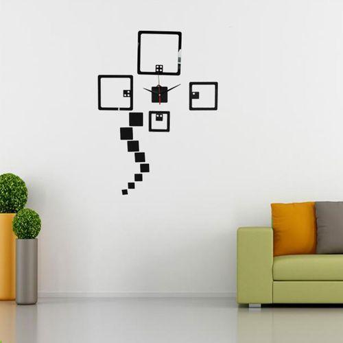 3D Modern Square Wall Clock Art Watch Mirror Surface Sticker Home Decor DIY Gift