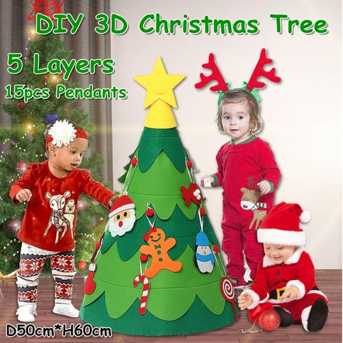 3D DIY Christmas Tree Set Christmas Scene Decoration Jewelry Children's Toys Gifts For Kids