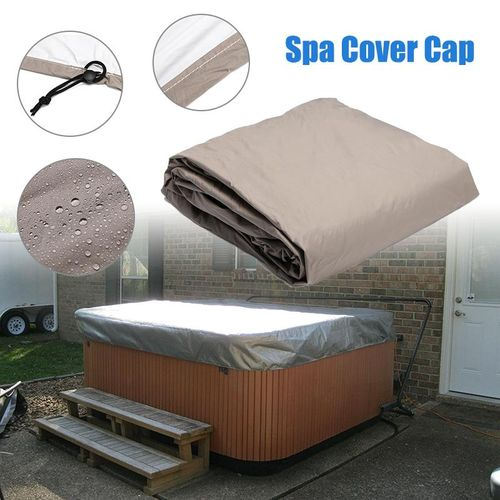 220*220*85cm Silver Hot Tub Spa Cover Cap Waterproof Lightweight Bag Durable Protective Guard