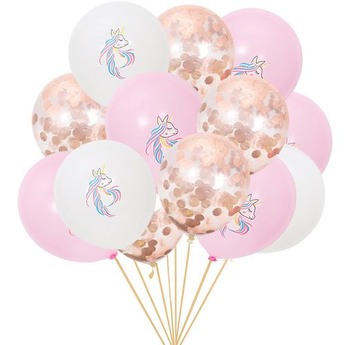 15pcs Unicorn Latex Confetti Balloon Set Unicorn Birthday Party