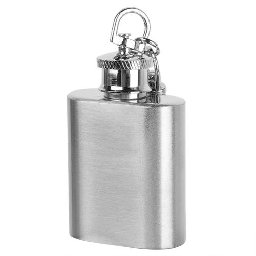 1 Oz Oval Portable Stainless Steel Hip Flask Alcohol Wine Whiskey Bottle With Keychain