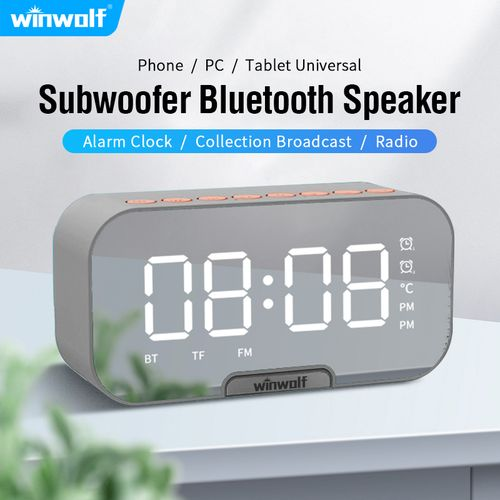 Wireless Bluetooth Portable Alarm Clock FM Radio Grey
