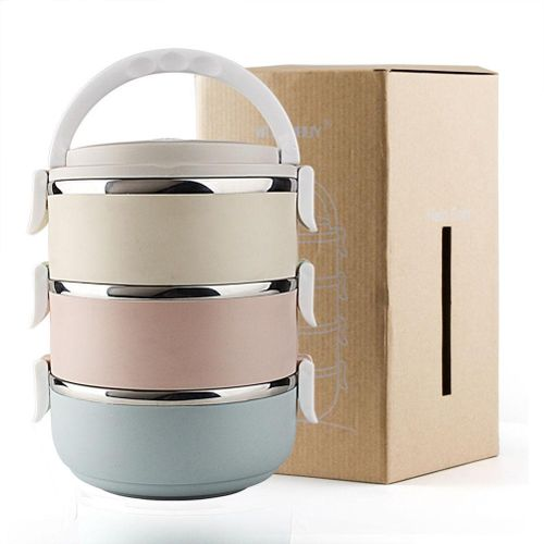 3 Tier Stainless Steel Round Lunch Box Portable Insulated Thermal Food Container