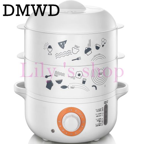 DMWD Multifunction Electric Hot Rice Cooker Steamer Mini Food Warmer Automatic Insulation Heating Lunch Box Eggs Boiler 3 Layers
