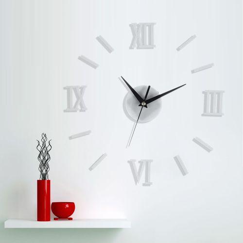 3D Large Number Mirror Wall Clock Quartz Movement Hands Mechanism