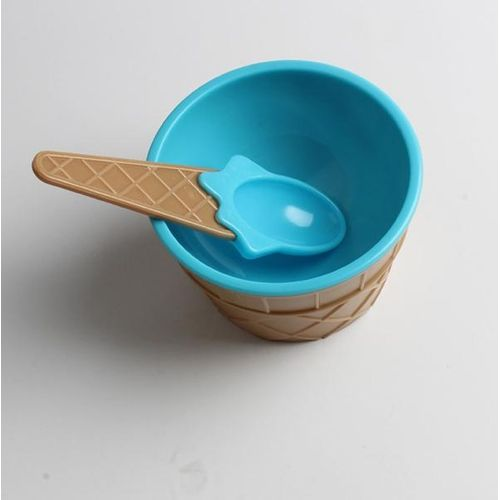 1PC Kids Ice Cream Bowls Ice Cream Cup Couples Bowl Gifts Dessert -Blue